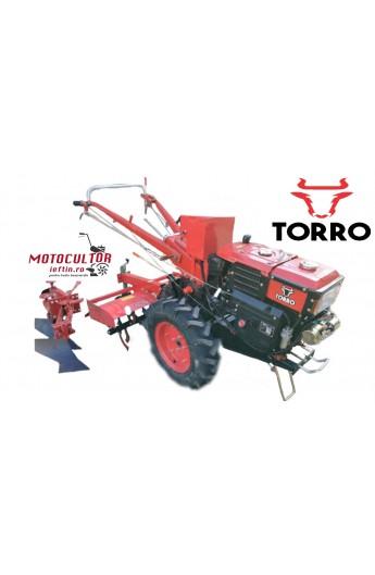pachet Motocultor Torro 15 cp Diesel cu aprindere electrica ,freza sol si plug dublu