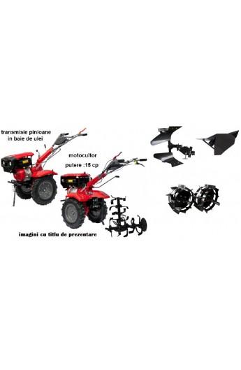 Pachet motocultor 15 cp cu accesorii(roti metal+freze+plig arat reversibil+plug bilonat)